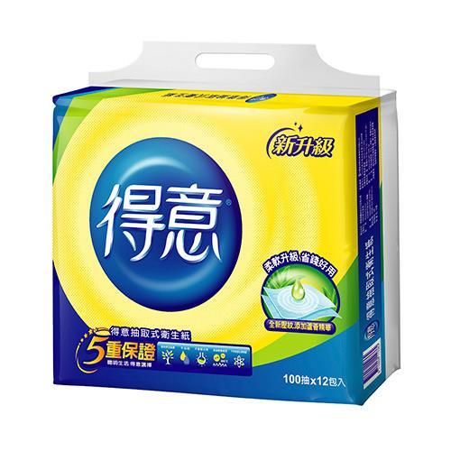 得意抽取式衛生紙100抽~12包