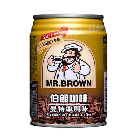 金車伯朗咖啡-曼特寧(無糖)240ml*6入