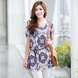 【韓系女衫】時尚熱帶風情寬鬆印花長版上衣