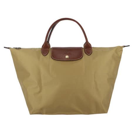 Longchamp 短提把中型水餃包-黃褐色