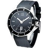 cK 運動時尚風大錶徑腕錶-黑