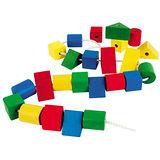 【德國HEROS木製積木】歡樂彩繪造型積木串連遊戲組24pcs-73242