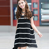 【公主衣櫃 中大尺碼】條紋雪紡洋裝(黑色)預購MS3005