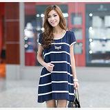 【公主衣櫃 中大尺碼】條紋雪紡洋裝(藍色)預購MS3005