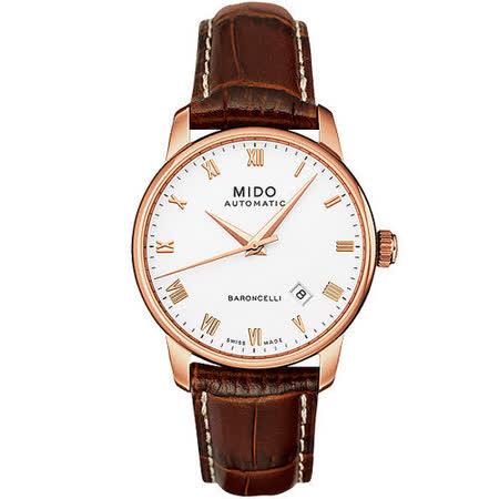 MIDO Baroncelli 玫瑰金機械皮帶錶 M86002268