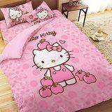 【享夢城堡】HELLO KITTY 粉紅蘋果系列-雙人四件式床包涼被組