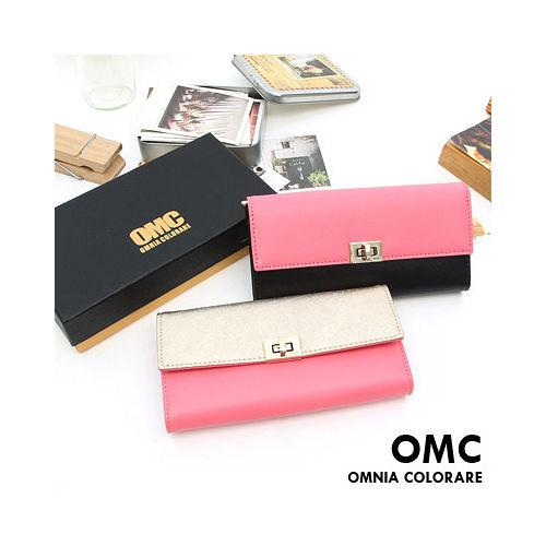 OMC - 韓國專櫃雙色系真皮款兩折式拉鍊長夾-共2色