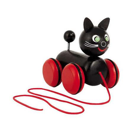 【德國HEROS木製積木】Blacky布蕾奇小黑貓手拉車-40322