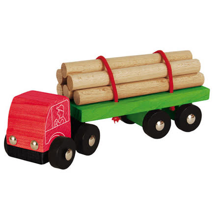 【德國HEROS木製積木】原木拖車積木組 7pces-27832