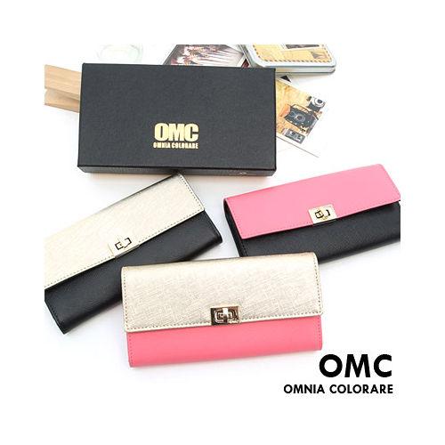 OMC - 韓國專櫃雙色系真皮款兩折式長夾-共3色