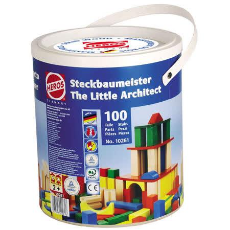 【德國HEROS木製積木】小小建築師彩色積木桶 100pcs-10261