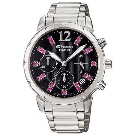 【真心勸敗】gohappy快樂購CASIO SHEEN 星空閃爍計時晶鑽腕錶(黑/鋼帶-SHN-5012D-1A)價格愛 買 網 路 購物