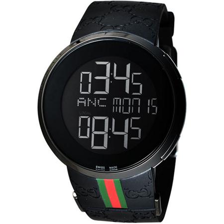 GUCCI I-GUCCI 科技時尚電子錶(YA114207)-IP黑