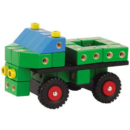【德國HEROS木製積木】快速接合積木組-大卡車 95pcs-22522