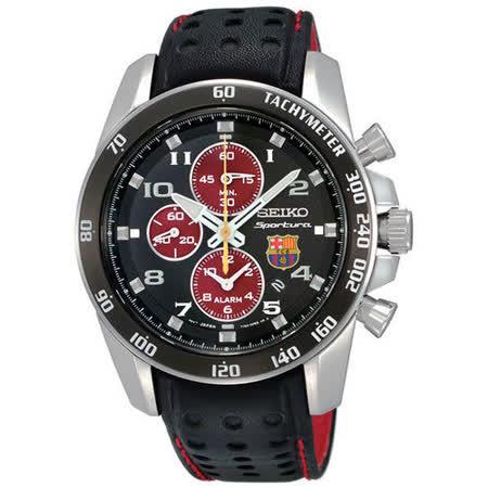 SEIKO Sportura巴塞隆納三眼計時腕錶-黑/紅 7T62-0KV0R