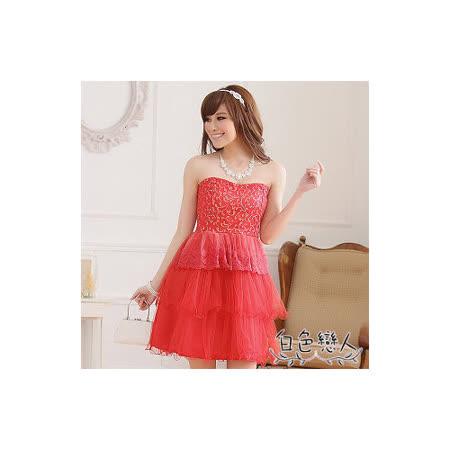 【白色戀人中大尺碼】紅色復古修身顯瘦平口蛋糕小禮服