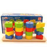 【德國HEROS木製積木】益智形狀堆疊遊戲組16pcs-73462