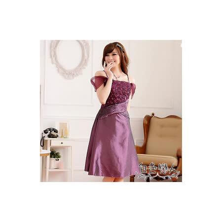 【白色戀人中大尺碼】紫色宮廷垮肩亮片緹花壓褶小禮服