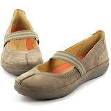 CLARKS_克拉克 (女款)  輕量柔軟透氣平底休閒鞋-棕色