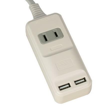 安全達人 2孔1插+2個USB座 15A轉向延長線2尺(AU-1202R)