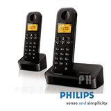 【飛利浦PHILIPS】數位雙子機無線電話D1502B(黑色)
