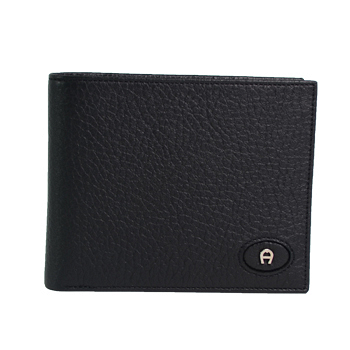 【AIGNER】經典摺疊多卡皮夾-黑色
