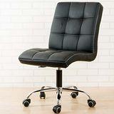 《BuyJM》方塊鐵腳PU輪皮面辦公椅