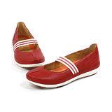CLARKS_克拉克 (女款) 輕量柔軟透氣平底休閒鞋-紅色