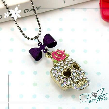 《伊飾童話》玫瑰骷髏*紫蝴蝶結鑲鑽長鍊