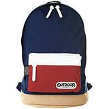OUTDOOR 創意拼貼三色後背包-藍白紅