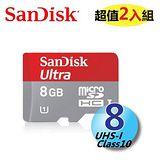 【2入組】SanDisk Ultra microSDHC 8GB Class10 UHS-I 記憶卡(30MB/s)