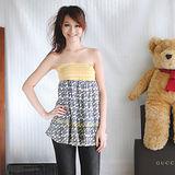 【ZARA】普普風花朵圖案束腰上衣/短裙(黄)