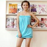 【ZARA】新品 平口露肩口袋連身裙(藍色)