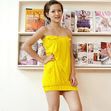 【ZARA】新品 平口露肩口袋連身裙(黃色)