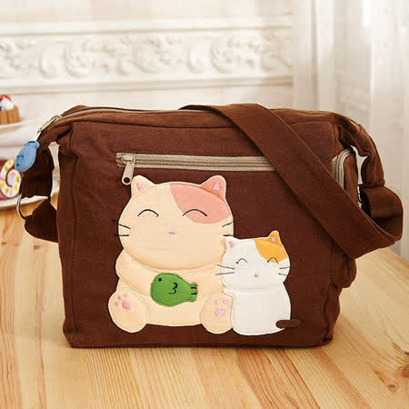 ABS貝斯貓 微笑大貓小貓可愛拼布 斜側背包 (咖啡) 88-189