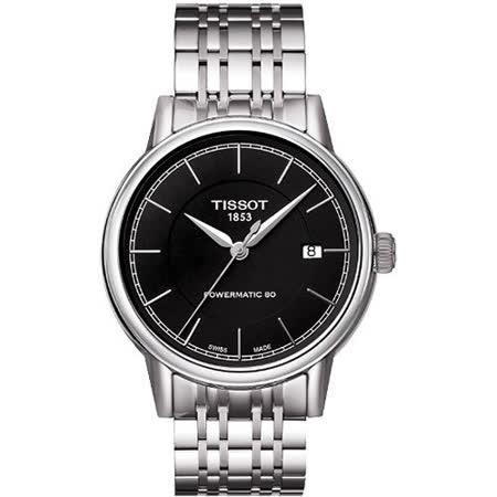 TISSOT Carson Powermatic 80 經典機械腕錶-黑/銀 T0854071105100