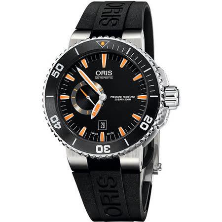Oris Aquis 專業潛水小秒針陶瓷機械腕錶-黑/橘時標 743.7673.41.59RS