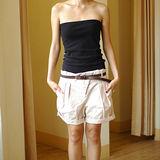 【ZARA】個性皺摺反折休閒棉短褲(淡粉.附腰帶)