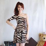 【ZARA】BSK 性感斜肩束腰斑馬紋連身洋裝(咖)