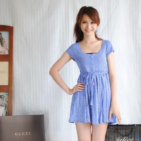 【ZARA】典雅圓點皺摺綁帶寬擺棉洋裝(粉藍)