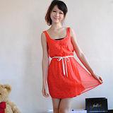【ZARA】甜美星星圖案雙層束腰綁帶洋裝(橘紅)