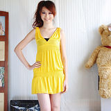 【ZARA】閃亮V領無袖皺摺棉質連身裙(黃)