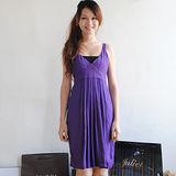【ZARA】性感交叉V領高腰皺摺修飾洋裝(紫)