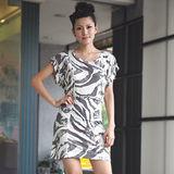 【ZARA】新品 斑馬紋編織縷空連身裙(白)