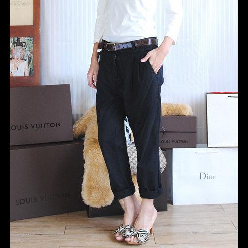 【ZARA】BERSHKA 時尚OL風皺摺附腰帶老爺褲(黑色)