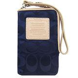 COACH 輕量尼龍皮革標手機袋(深藍)