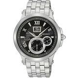 SEIKO PREMIER Kinetic 萬年曆腕錶-黑/銀 7D48-0AG0N