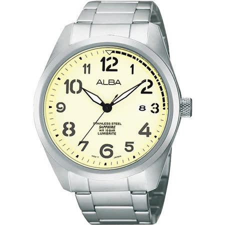 ALBA 飛行大數字藍寶石水晶腕錶-淡黃/銀 VJ42-X077Y
