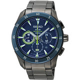 SEIKO CRITERIA 精英計畫太陽能計時腕錶(IP黑+藍框) V175-0BX0B