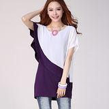 【麗質達人中大碼】803斜邊荷葉袖拼色假兩件雪紡衫(紫色)預購